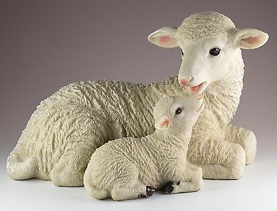 Sheep Ewe With Lamb Figurine 10 Inch Long Resin Highly Detailed New In Box
