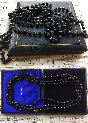 Antique Victorian  Hand Knotted French Jet Beads Long Mourning Necklace In Box
