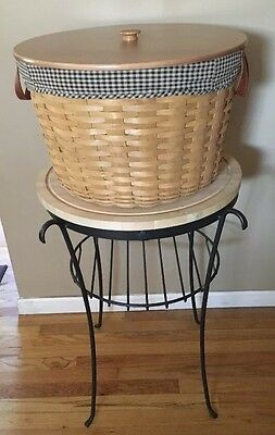Longaberger '02 Work Around Basket, Wrought Iron Stand,Butcher Block,Full Combo