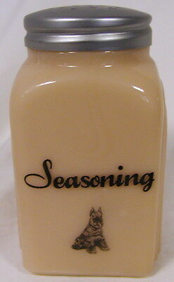 Pink Milk Glass Arched Spice Shaker w/ Schnauzer Dog - Seasoning