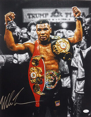 Mike Tyson Autographed/signed Boxing 16X20 Photo 14830 (Belts Gold) Jsa