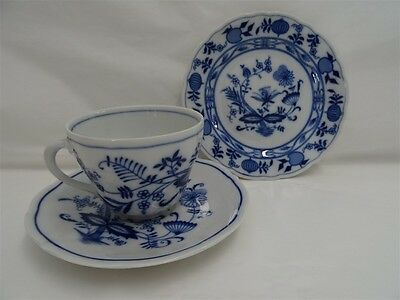 Bavaria Germany Blue Onion Trio Cup Saucer & Plate - 3Pc Excellent