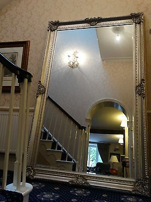 HUGE XXL Repro. antique silver gilt French Wall hall leaner floor mirror, LAST 1