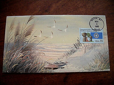 Oil Painting first day cover by Ham  Saipan, MP Beach scene 1993 Signed & #