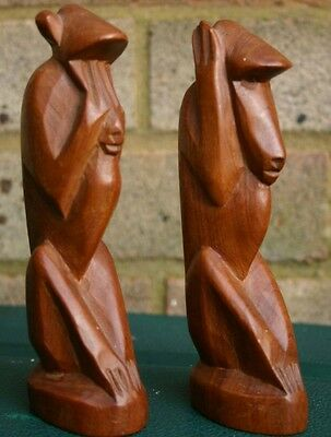 Hand Carved Wooden Monkeys See No Speak No Hear No Evil