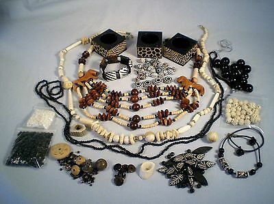 Lot Jewelry/Beads African Theme ~Carved Wood /Bone/Black Painted~Craft/Repurpose