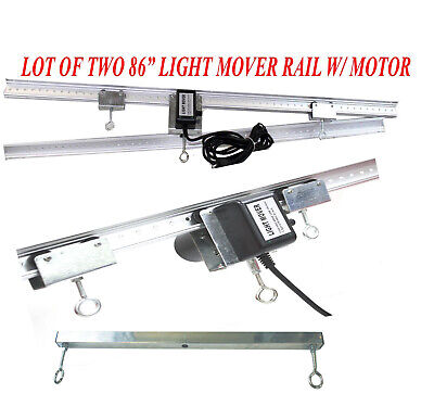"LOT  TWO 83"" LIGHT TRACK RAIL Motor Grow Light Mover 4 Reflector Hood DE Gavita"