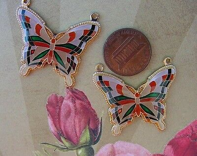 Vintage Large Asian Metal Butterfly Pendants Charms