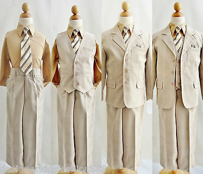 Boy Khaki/light brown taupe toddler teen wedding graduation party formal suit