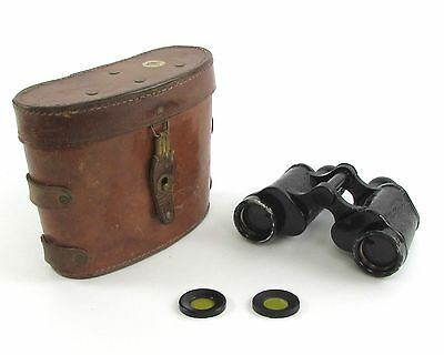 Vintage Hensoldt Wetzlar 8x30 Binoculars With Brown Leather Case