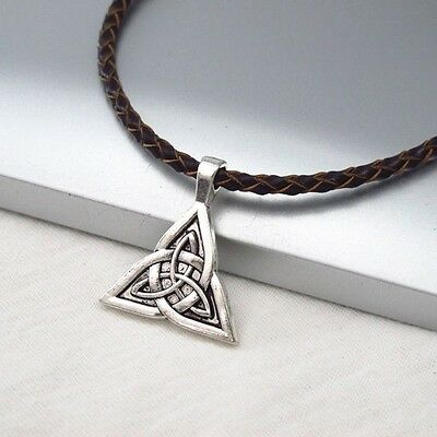 Silver Alloy Celtic Triquetra Symbol Pendant Braided Brown Leather Cord Necklace