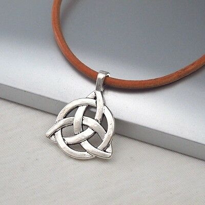 Silver Alloy Celtic Symbol Pendant 3mm Brown Leather Cord Ethnic Tribal Necklace