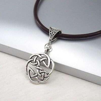Silver Alloy Round Celtic Symbol Pendant Dark Brown Leather Cord Ethnic Necklace