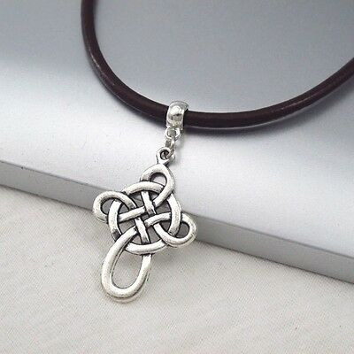 Silver Alloy Celtic Symbol Cross Pendant Dark Brown Leather Cord Ethnic Necklace