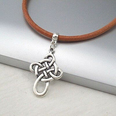 Silver Alloy Celtic Symbol Cross Pendant 3mm Brown Leather Cord Ethnic Necklace