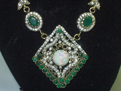 Floating Australian Opal Pendant Necklace Created Ruby Emerald 925 Sterling