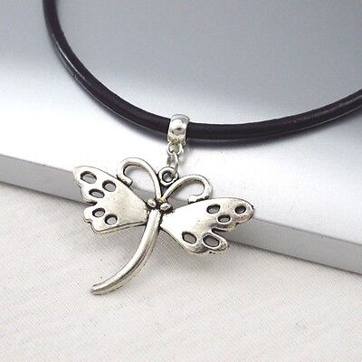 Silver Alloy Butterfly Charm Symbol Pendant 3mm Black Leather Cord Necklace NEW