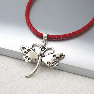 Silver Alloy Butterfly Charm Symbol Pendant Braided Red Leather Cord Necklace