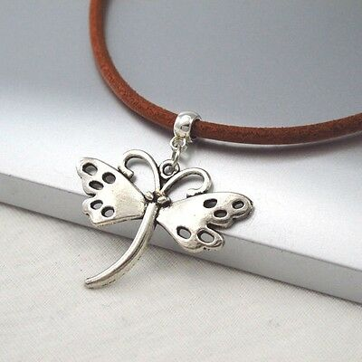 Silver Alloy Butterfly Charm Symbol Pendant Natural Brown Leather Cord Necklace