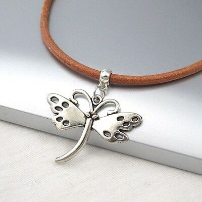 Silver Alloy Butterfly Charm Symbol Pendant Light Brown Leather Cord Necklace