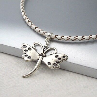 Silver Alloy Butterfly Charm Symbol Pendant Braided White Leather Cord Necklace