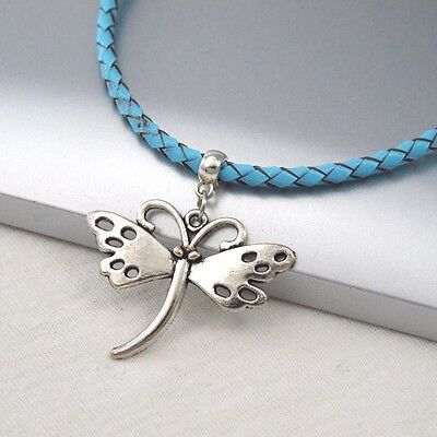 Silver Alloy Butterfly Charm Symbol Pendant Braided Baby Blue Leather Necklace