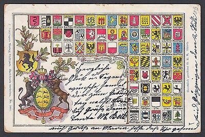 Germany 1903 Gruss Aus Wurttemberg Coats Of Arms Litho Postcard To New York Usa