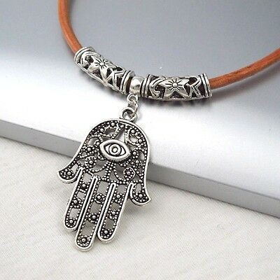 Silver Alloy Hand Eye Symbol Pendant Light Brown Leather Cord Ethnic Necklace