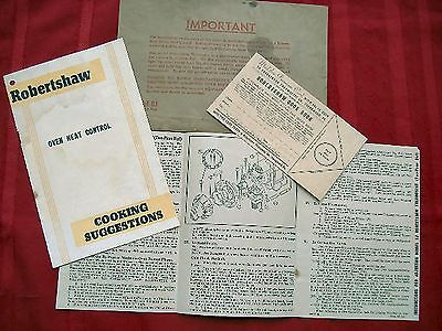 Robertshaw Oven Literature - Premium Card, Cooking Suggestions,instructions