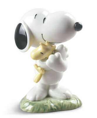 Peanuts Nao By Lladro Snoopy W/ Woodstock Brand Nib #531 Charlie Brown Dog F/sh