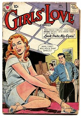 Girls' Love Stories #59 comic book 1958- DC Romance- Spicy cover!