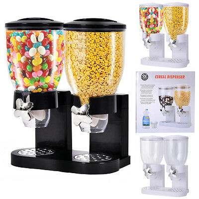 Double Dry Food Cereal Dispenser Kitchen Storage Twin Container Dispense Machine