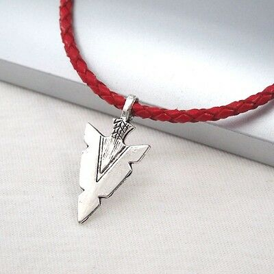 Silver Alloy Spear Arrow Symbol Pendant 3mm Braided Red Leather Ethnic Necklace