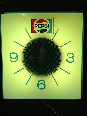 Vintage 1973 Pepsi Clock Sign Made by Price Brothers, Chicago