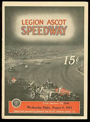 LEGION ASCOT SPEEDWAY RACE PROGRAM August 2 1933 REX MAYS