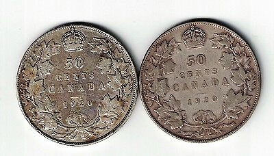 2 X Canada 50 Cents 1920 Narrow Date And Wide Date King George V Silver Coins