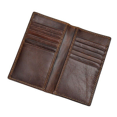 Men's Vintage Genuine Leather Wallet Long Bifold Money Card Holder Purse Clutch