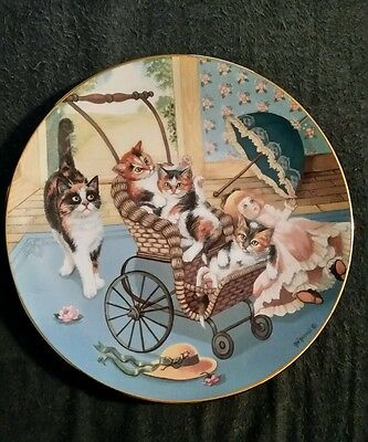 Hamilton Collection Country Kitties Plate Gre Gerardi Calico Cat Stroller Derby