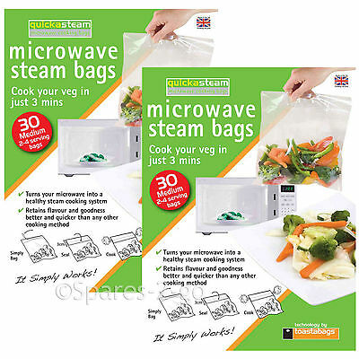 Microwave Oven Vegetable Steam Bags Quick Veg Steaming Quickasteam Medium x 60