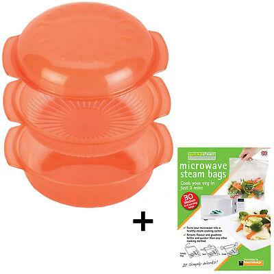 Dishwasher Safe Microwave Oven Steamer Dish Steaming Rack Pot + Quick Steam Bags