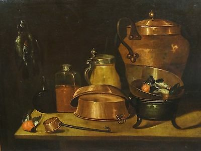 Huge Fine 17th Century Portuguese School Old Master Still Life Oil Painting
