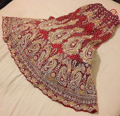 Lengah, Bridal Red Lengha, Asian Lengha