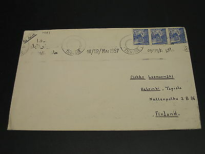 Tunisia 1957 airmail cover to Finland *14781