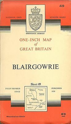 Ordnance Survey Map No 49 BLAIRGOWRIE- Cloth - 1958