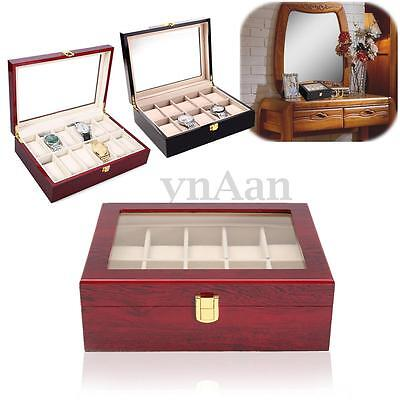 10 Grid Leather Watch Storage Display Box Organiser Jewelery Wooden Glass Case