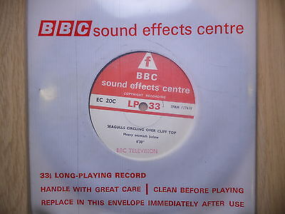 """BBC Sound Effects 7"""" Record - Seagulls on Cliff Top, Dawn in a Suburban Garden"""