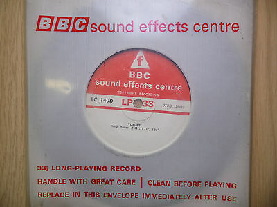 "BBC Sound Effects 7"" Record - Drums, Tattoo, Long Rolls, EC140D"