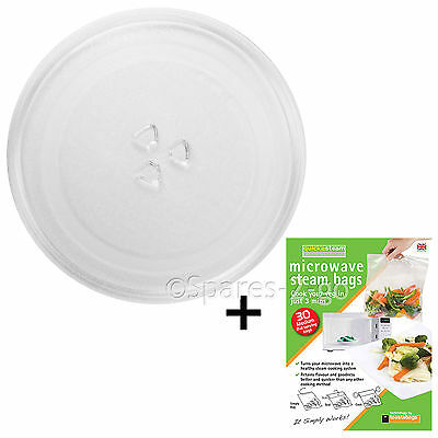 """Microwave Glass TURNTABLE PLATE 255mm 25.5cm 10"""" 3 Lug Dish + Quick Steam Bags"""