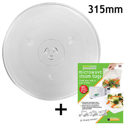 """Microwave Glass TURNTABLE PLATE 315mm 24.5cm 12.5"""" 3 Lug Dish + Quick Steam Bags"""