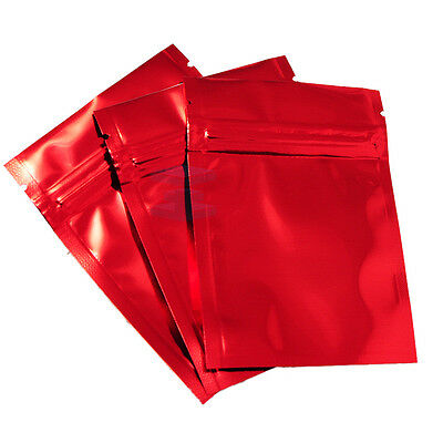 Smell Free Mylar Type Strong Grip Seal Bags Flat Pouch Red - 7.5CM x 10CM